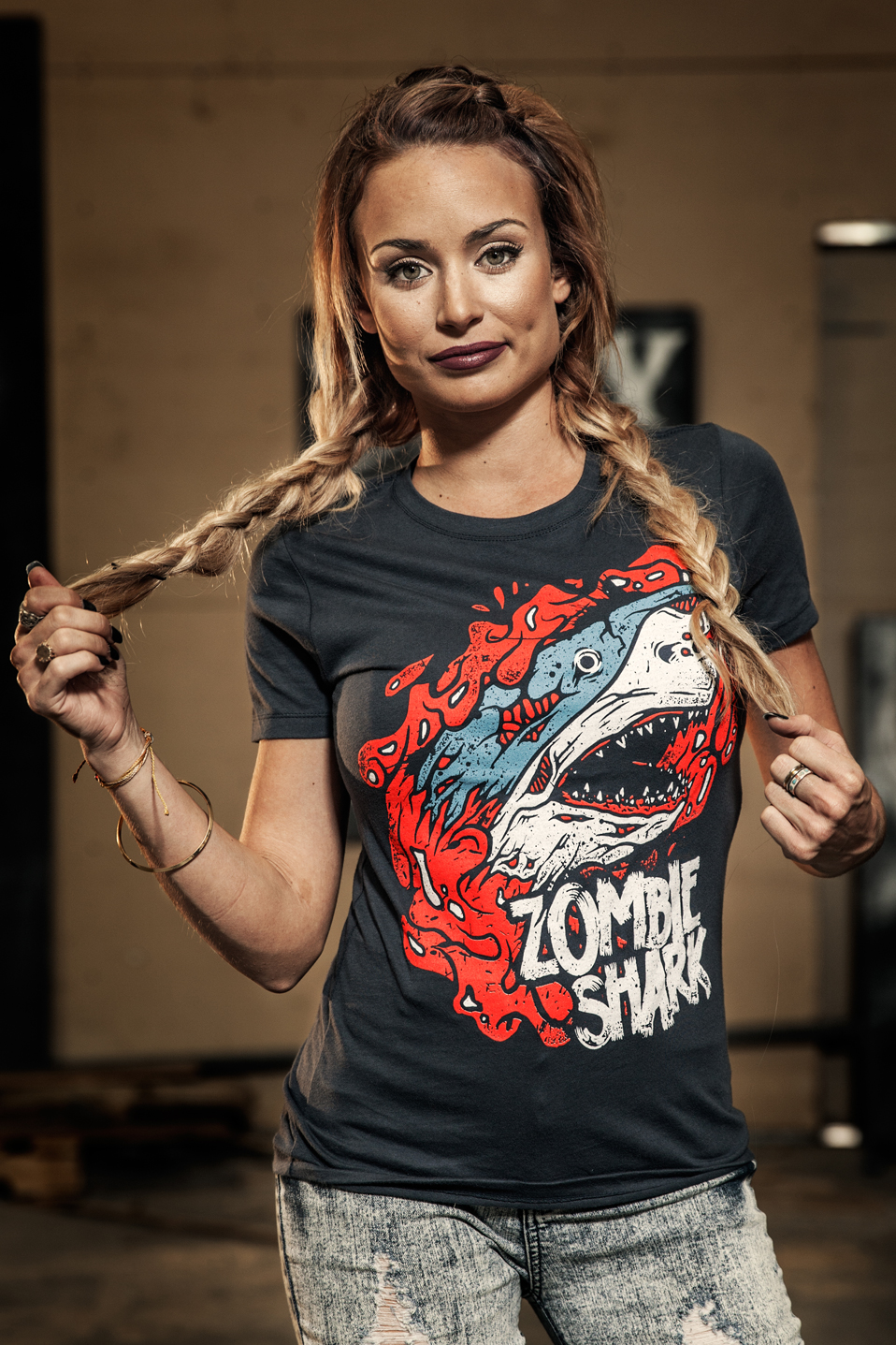 Becky Andrews in a Zombie Shark t-shirt